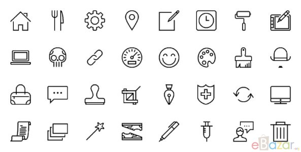 50 Icon Sets with Stroked Icons