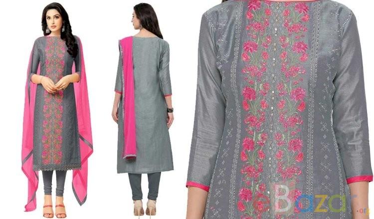 Heavy Chanderi Unstitched Suit Set | চান্দেরির কাজ করা সালোয়ার কামিজ