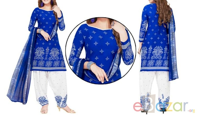 Blue Unstitched Salwar Suit | নীল সালোয়ার কামিজ